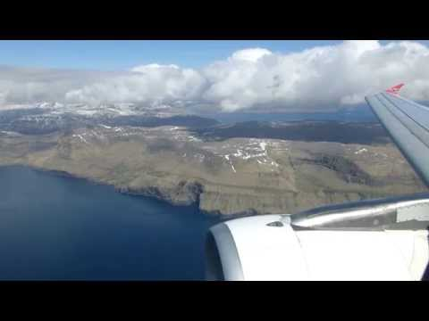 Landing at the Faroe Islands in an Atlantic Airways A319