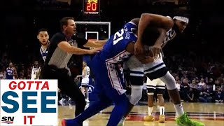 GOTTA SEE IT: Joel Embiid & Karl-Anthony Towns Tussle, Causing Benches To Clear