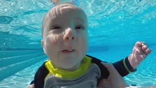 Baby Myles Swims Under Water!!