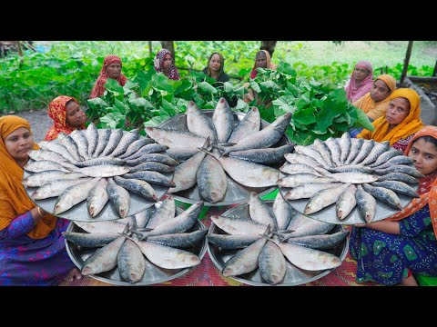 Tasty & Healthy Village Food Recipe – Hilsa Fish & Taro Leaves Mashed Cooking in Village by Women