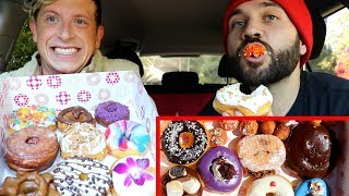 GOURMET DONUT MUKBANG with MATT KING!! (Chocolate, Cereal, maple, AND MORE!)
