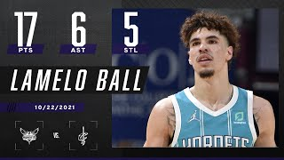 LaMelo Ball finishes with 17PTS, 6 AST & 5 STL's to guide Hornets 🍿