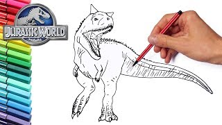 How to Draw Carnotaur Jurassic World Dinosaur - Dinosaurs Color Pages for Childrens