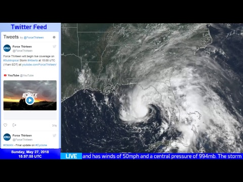 Live Update on Subtropical Storm Alberto - 11am EDT, May 27 2018