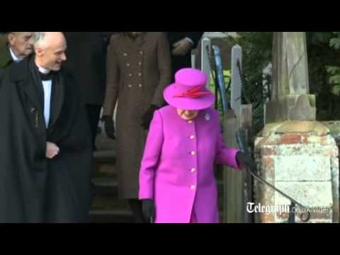 The Queen and Royal Family arrive at Sandringham