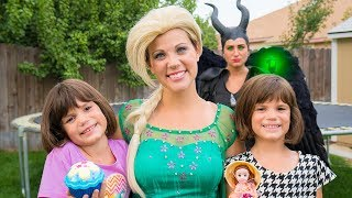 Frozen Elsa and Maleficent help teach TWINS Kindness with Surprise Cupcake Princesses thumbnail