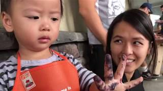 Kids and Toddlers Building Fireboat At Home Depot