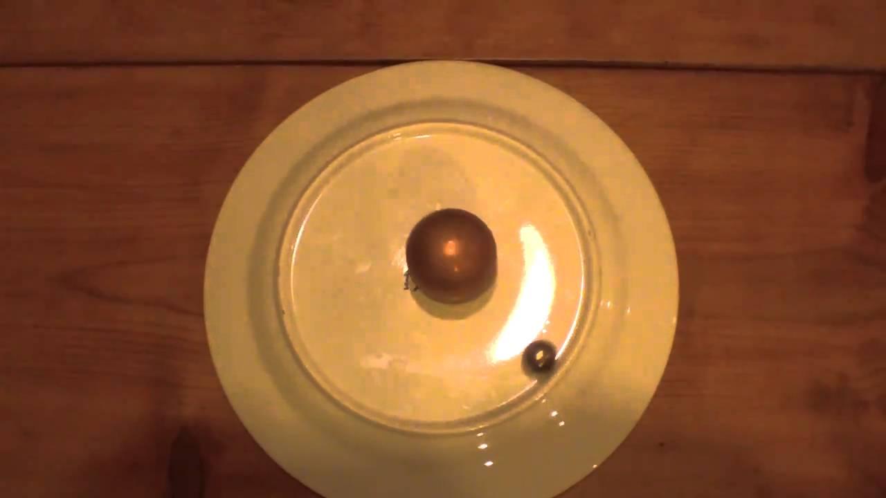Spinning copper ball creates Eddie Current.