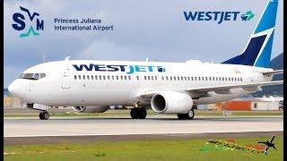 WestJet 737-800 Arrival - Departure from St. Maarten Princess Juliana Int'l Airport