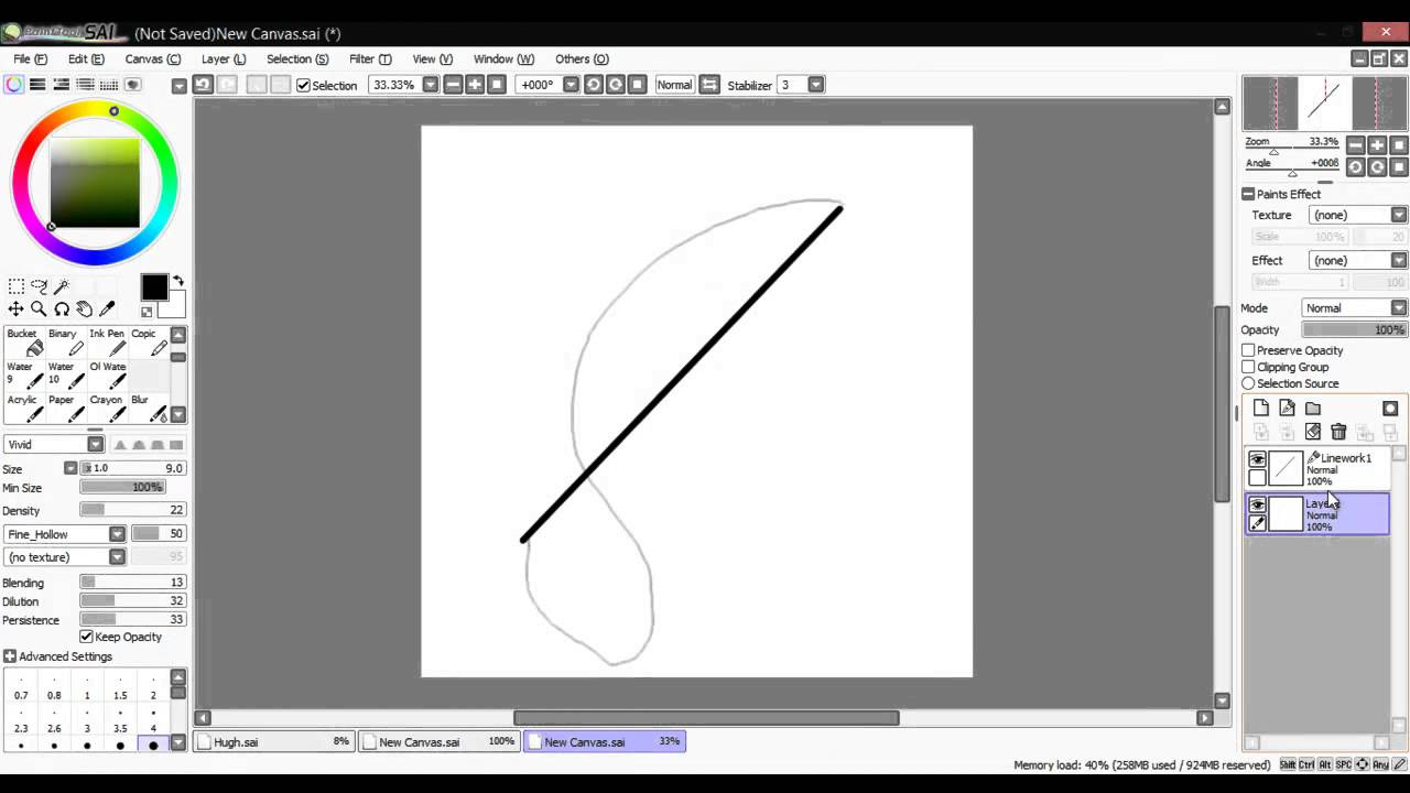 how to make a straight line in sai
