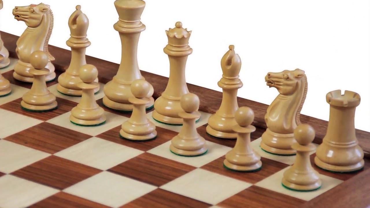 1850 Ebony & Boxwood Chess Pieces, Mahogany Board & Teak Box