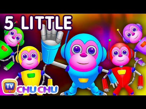 Five Little Monkeys Jumping On The Bed  Part 2  The Robot Monkeys  ChuChu TV Kids Songs