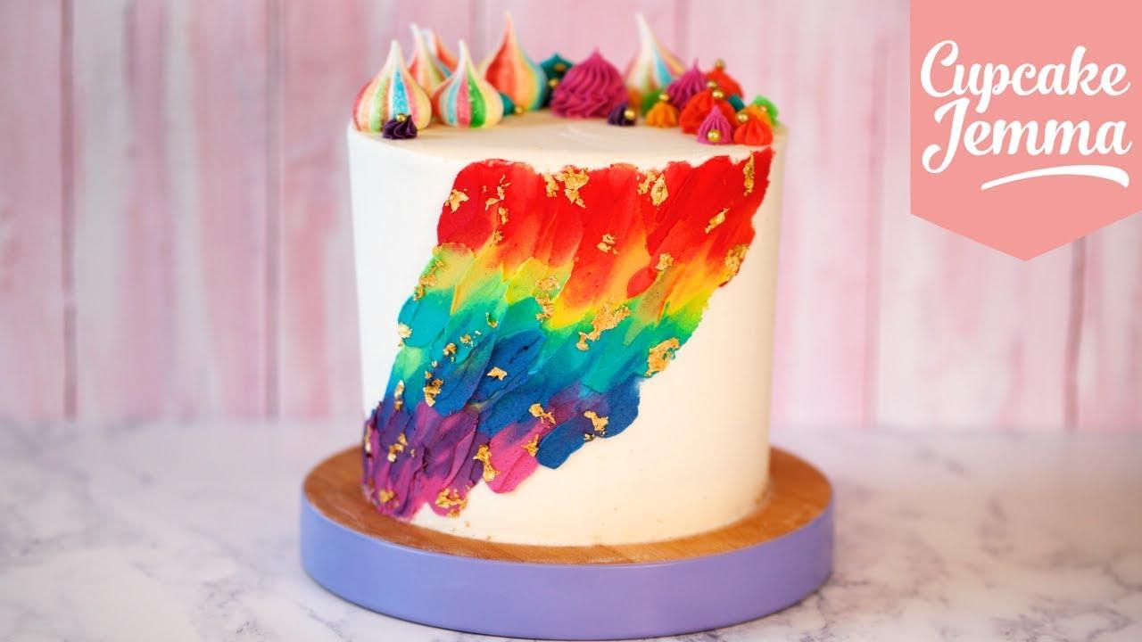 Cupcake Jemma Cake Recipe: Spectacular Rainbow Painted Party Cake Tutorial