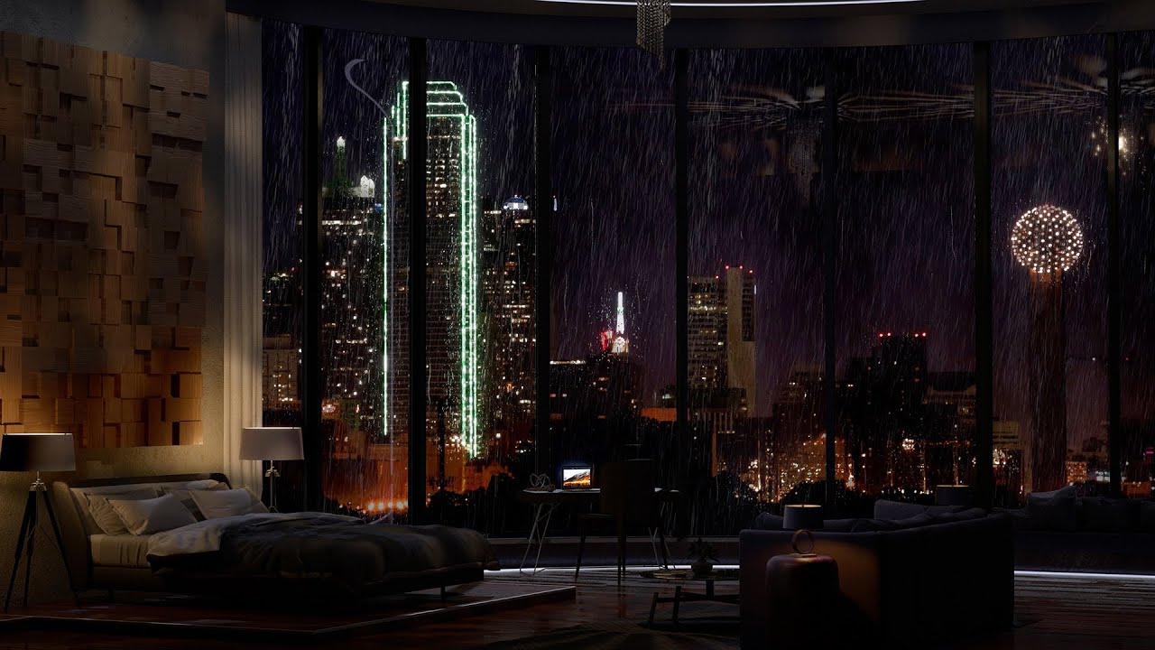 Download Spend The Night In This Exquisite Dallas Apartment In Texas | Rain On Window | 4K | 8Hours