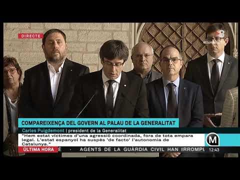 Compareixença del Govern al Palau de la Generalitat  (TV3 20-09-2017)