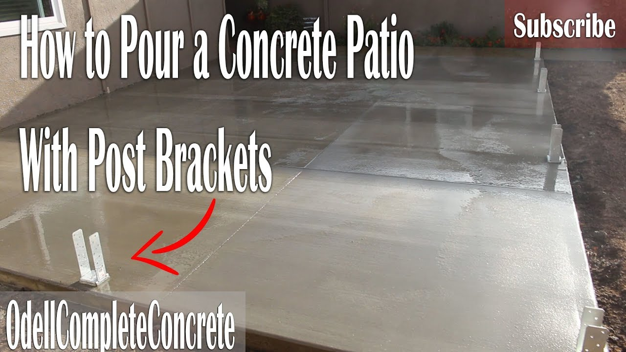 how to pour a concrete patio with post brackets for fences and patio covers