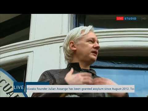 WikiLeaks founder Julian Assange makes a statement from the Ecuadorian embassy in London