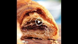 Hacked Chocolate Croissant Ring | inside chocolate cake | ingredients and instruction in description