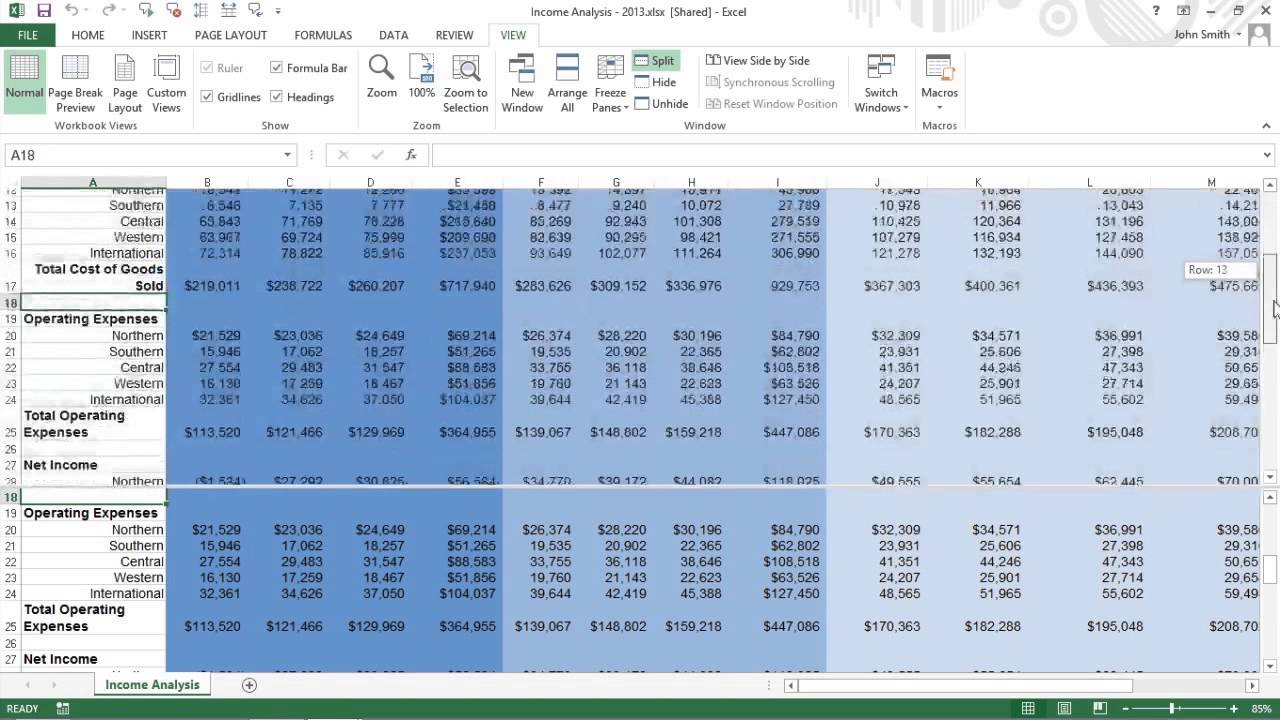 How to Split the Excel 2013 Worksheet into Windows For Dummies - YouTube