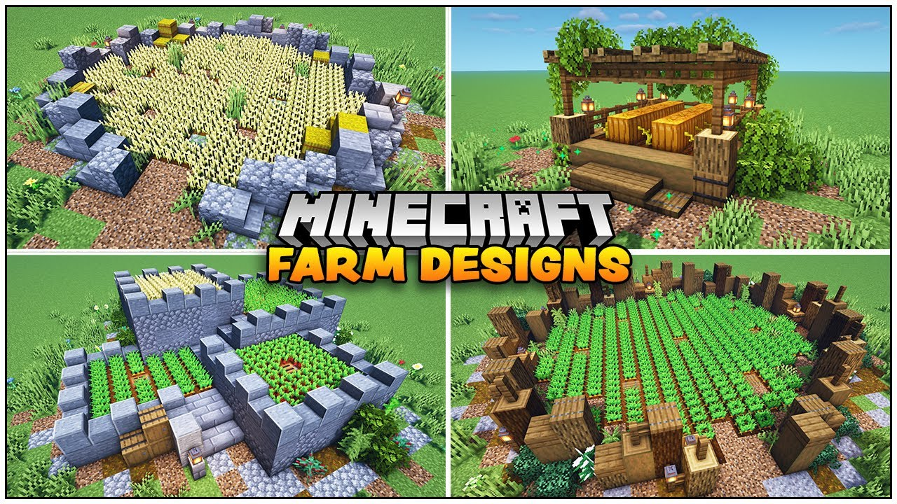 8 Quick And Easy Minecraft Farm Designs Youtube