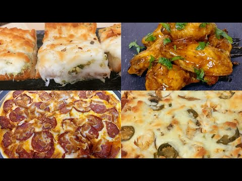 Dinner Routine  Baked Chicken Wings  Cheesy Garlic Bread  Homemade Pizza  Pepperoni & Chicken Pizza