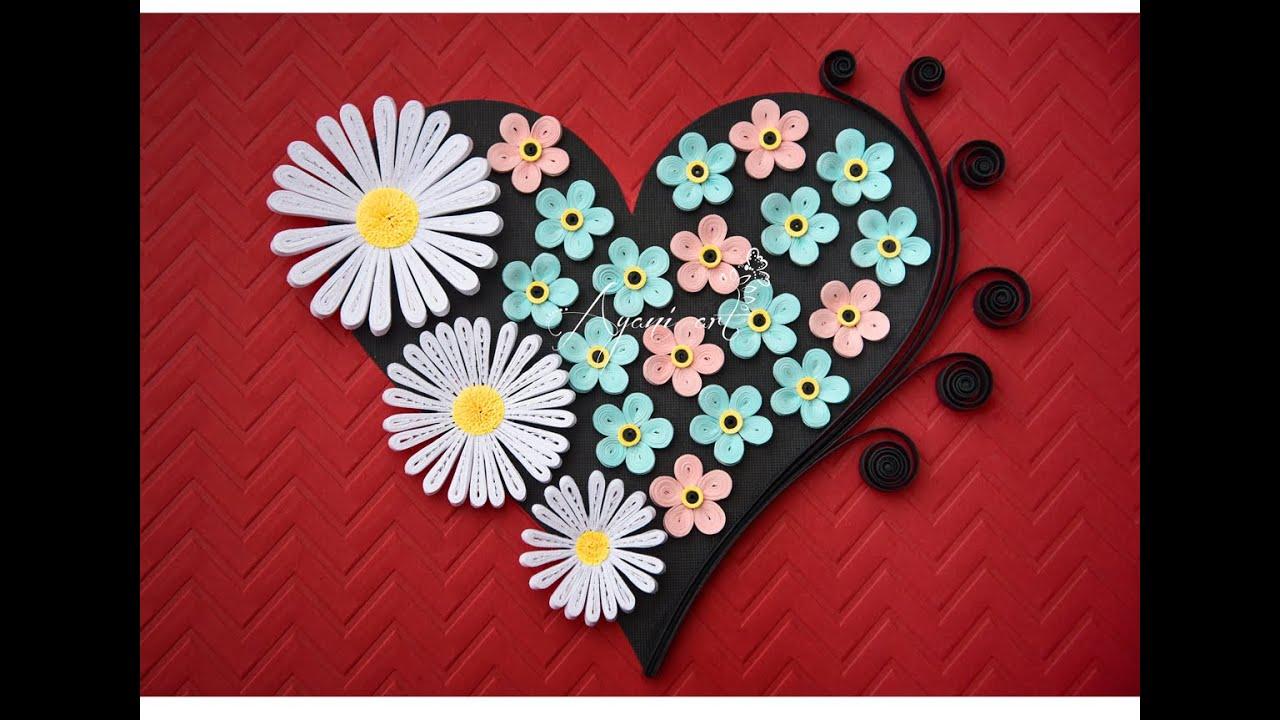 Quilling Valentine Flower Heart Tutorial Youtube