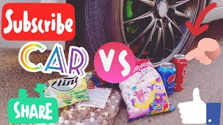 Crush the crisp and soft things with a car. Car VS Pepsi Mentos Car balloons VS Coca Cola