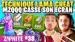GLITCH CHEAT AVEC LE LAMA 😱 MASTU ET CYRIL SUR FORTNITE 🤣 MZ CASSE SON ECRAN ! ZAP FORTNITE #38