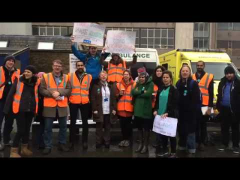 """Royal London Hospital doctors gather together chanting """"save our NHS"""""""