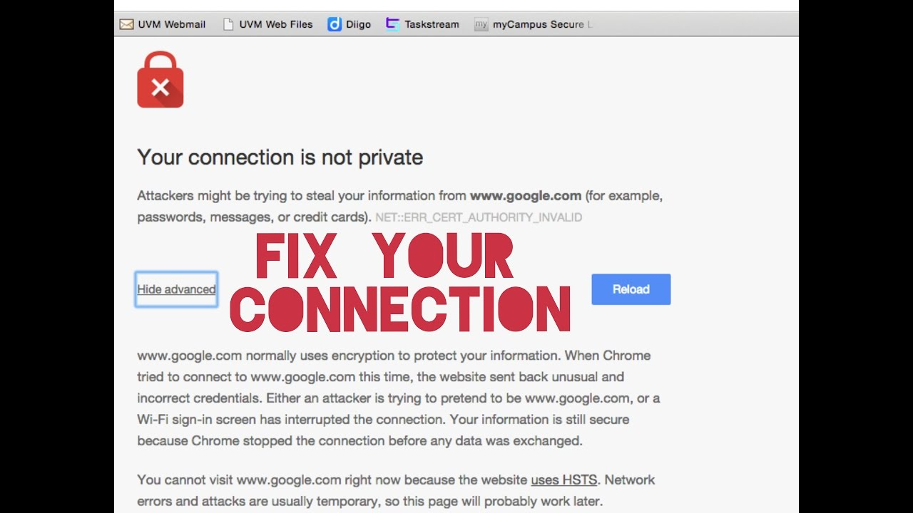 How to fix your connection is not private in chrome for Android