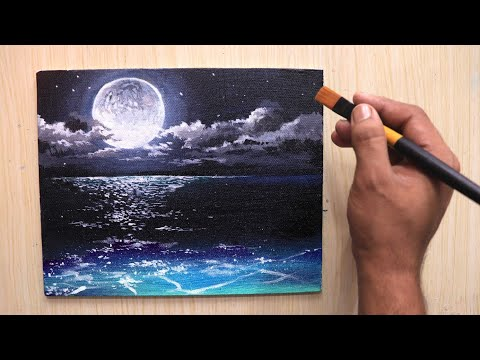 Acrylic painting of beautiful Moonlight night sky landscape step by step