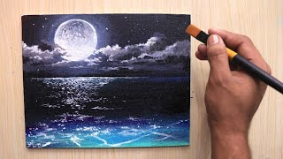 Paint with Shiba - Acrylic painting of beautiful Moonlight night sky landscape step by step - HDVIDEO