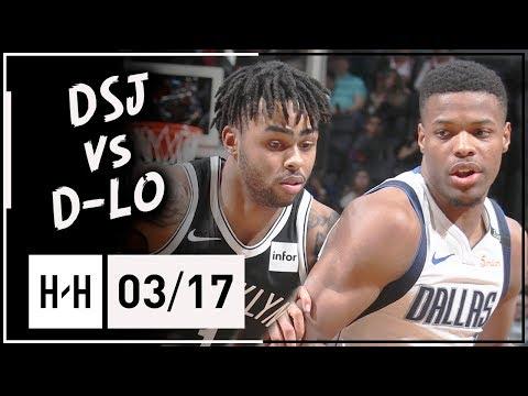 D'Angelo Russell vs Dennis Smith Jr. PG Duel Highlights (2018.03.17) Nets vs Mavericks - SICK