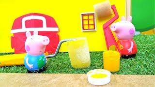 Детские игрушки - Свинка Пеппа новая серия - Красим домик