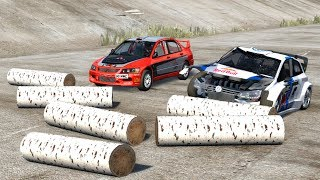 Beamng drive - Logs on the road Car speeding Crashes