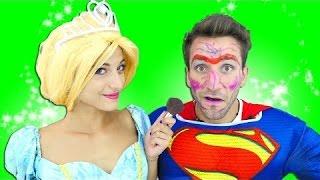 Cinderella vs Superman MAKEUP CHALLENGE! Fun Superheroes in real life! w\ Spiderman, Frozen Elsa