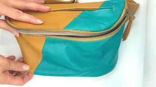 Video: Leather bum bag Doug combi 1 turquoise+tan