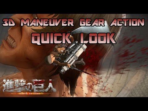 Attack On Titan/Shingeki No Kyojin - Quick Look Gameplay 3D maneuver Gear Action + Titan Killing