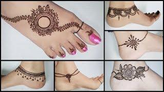 Best anklets feet mehndi design   Easy & beautiful feet mehndi design for beginners