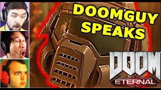 GAMERS REACT To DOOMGUY SPEAKING / Doomslayer Talking || DOOM Eternal Reaction