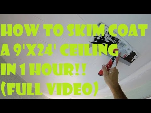 """How to Skim Coat a Ceiling in Less than 1 Hour!! With a Mud Pan and 14"""" Drywall Knife"""