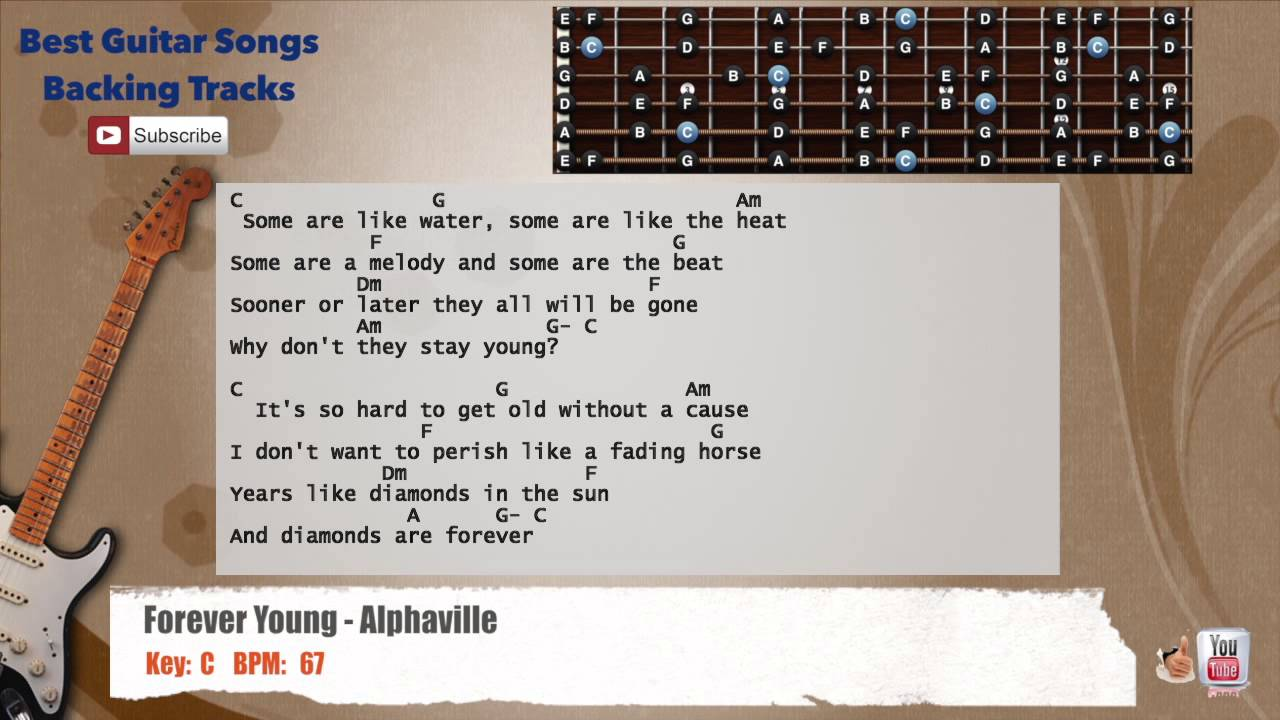 Forever Young Alphaville Guitar Backing Track With Scale Chords