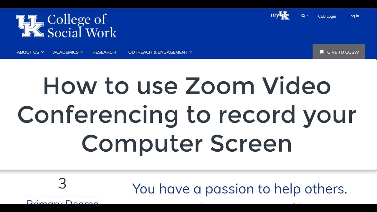 How to Record a Screencast / Computer Screen with free Zoom video  conferencing software