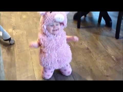 Knee Hopping Baby in Piggy Halloween Costume - Funny, Cute, Adorable, Baby Video