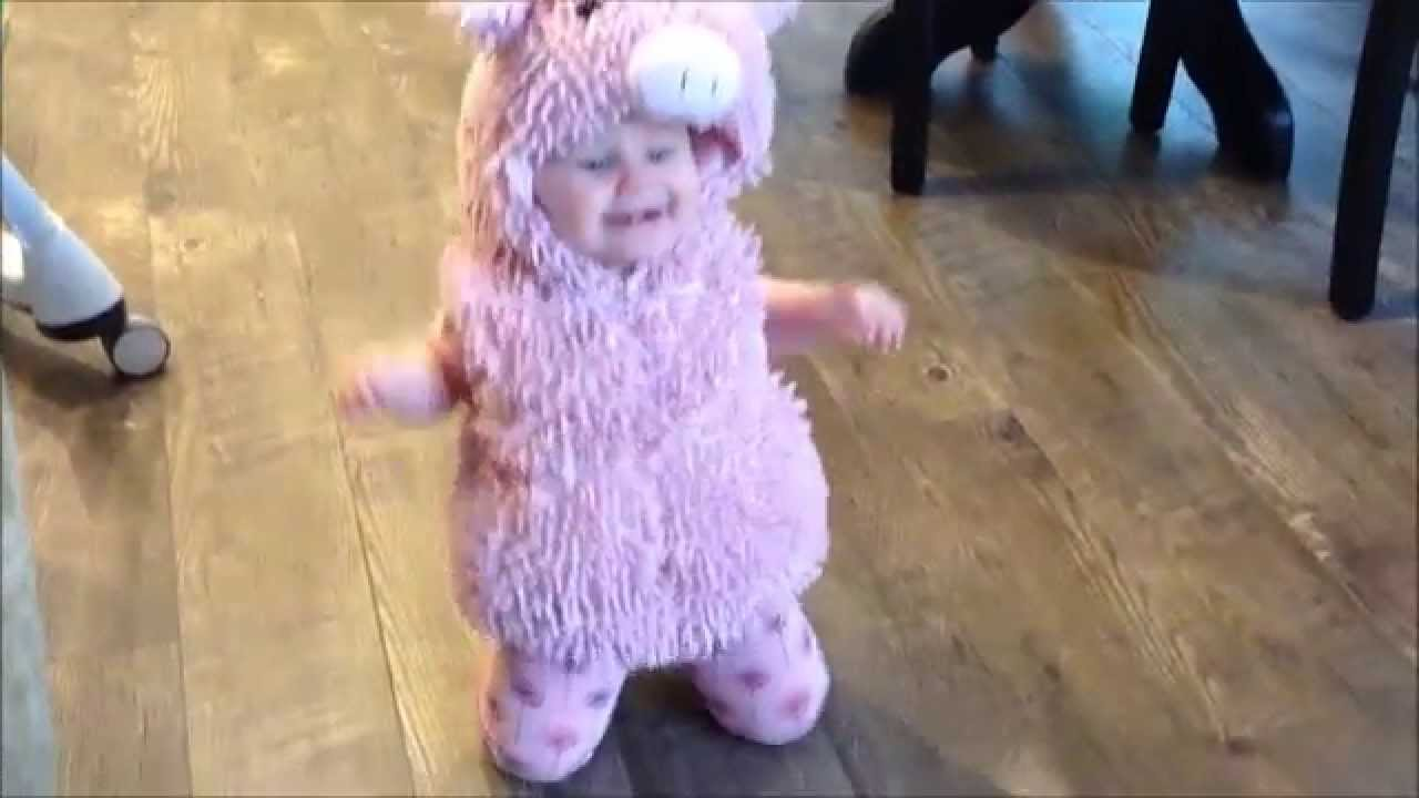 Knee Hopping Baby In Piggy Halloween Costume Funny Cute