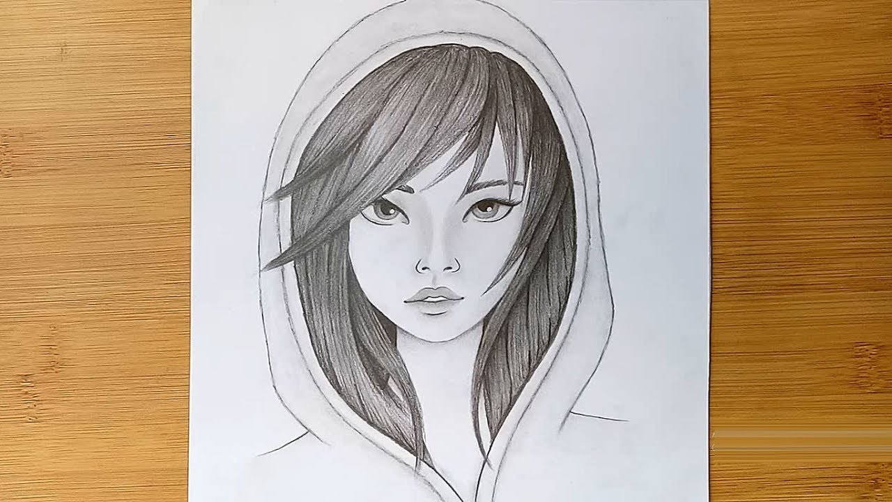 How To Draw Anime Girl  U0026quot Using Only One Pencil U0026 39  U0026 39     Step By