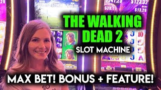 Michonne Attack!! + Free Spins BONUS! Walking Dead 2 Slot Machine! Max Bet!!