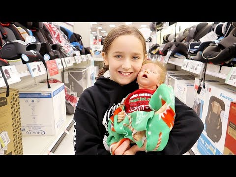 Shopping with Reborn Baby Dolls Olivia for Newborn Baby Car Seat and Christmas Outfits