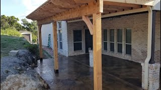Custom Pergola with Stamped Concrete and Stone Pedestals - Freedom Outdoor Living, San Antonio, TX