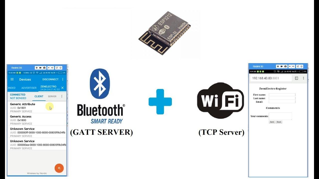 ESp3212 BLE+WiFi : GATT Server + TCP Server : (BLE and WiFi)